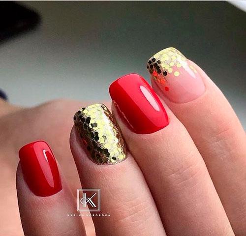 красный с золотым маникюр гель лаком 2
