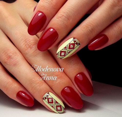 этнический узор на ногтях