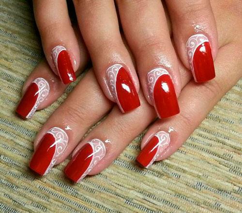белый с красным ногти 3