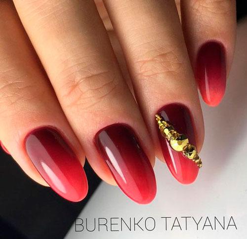 омбре на ногтях красного цвета