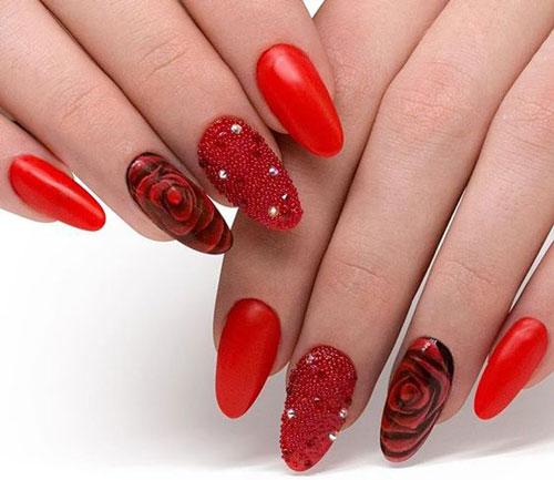 розы на ногтях красного цвета