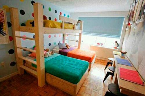удобное расположение кроватей в детской