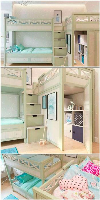 интересное решения для оформления детской комнаты для троих детей