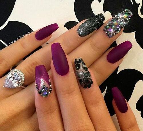 фиолетовый дизайн ногтей формы балерина
