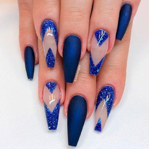 синий дизайн ногтей для балерины