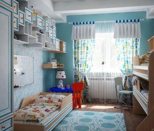синяя детская комната для троих детей