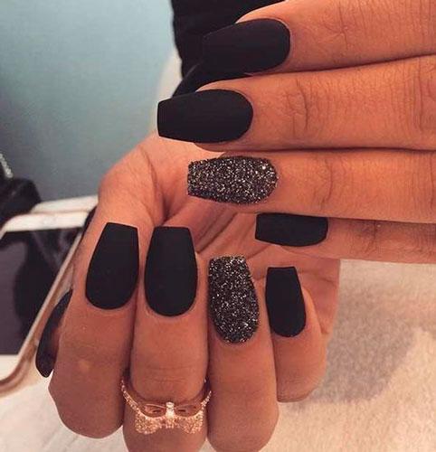 черный дизайн ногтей формы балерина с фото