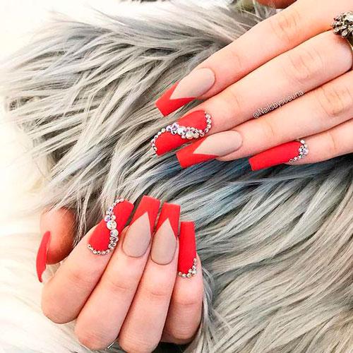 красные ногти с матовым гель лаком формы балерина