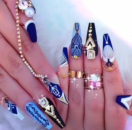 синий гель лак на ногтях формы балерина