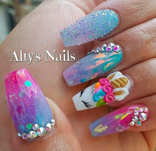 красивые ногти формы балерина с рисунком