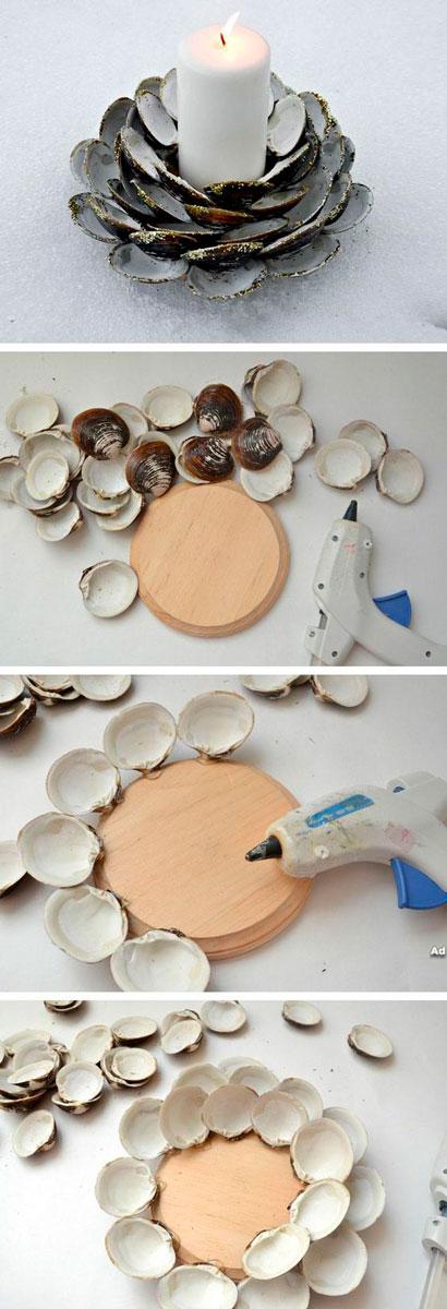 как сделать красивый подсвечник из ракушек
