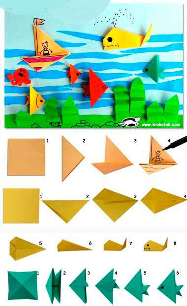 поделка море из бумаги