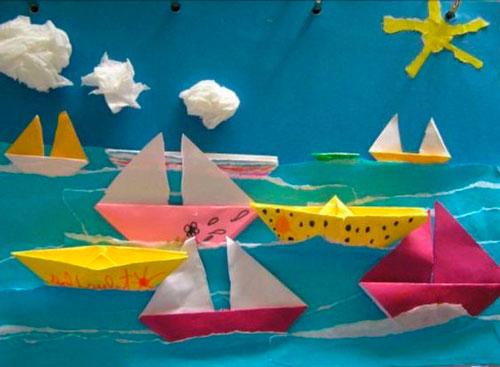 кораблики - рванная апликация из бумаги