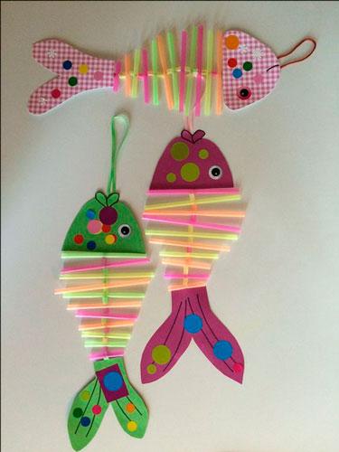 рыбки из бумаги и трубочек