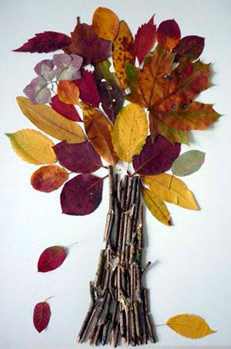 Осенняя аппликация из природного материала