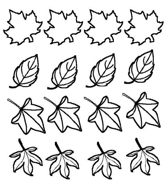 Шаблоны листьев для вырезания из цветной бумаги для украшения класса