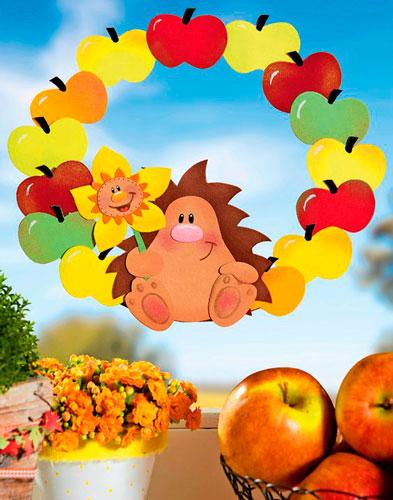 Осенняя аппликация с яблоками