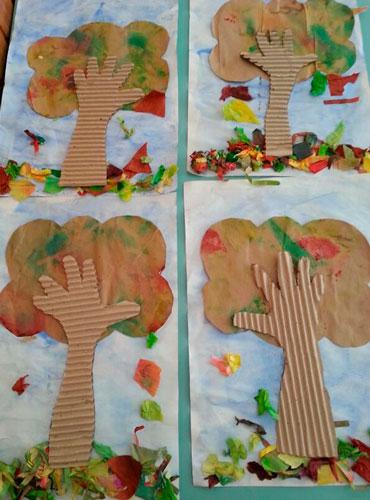 деревья из ладошек
