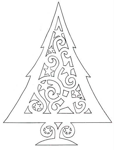 трафарет красивой новогодней елки