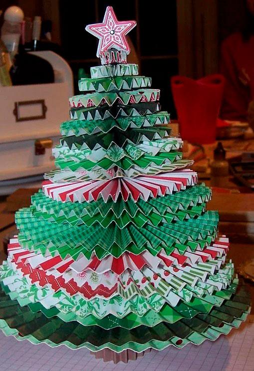 елка из цветной бумаги своими руками