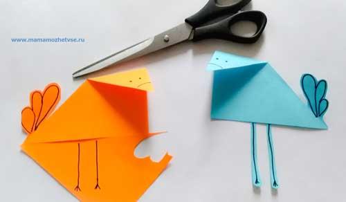 """Аппликация из бумаги """"Птички"""" для детей 4-6 лет"""