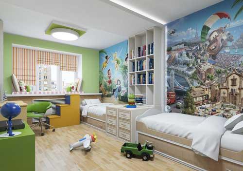 оформление стен в детской комнате для двоих детей фотообоями 7
