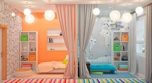 расположение кроватей в детской комнате для двоих детей