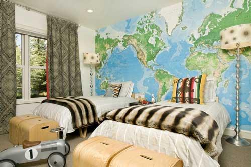 оформление стен в детской комнате для двоих детей фотообоями 5