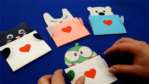 детские валентинки из бумаги в саду - письма
