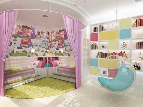 оформление стен в детской комнате для двоих детей фотообоями 2