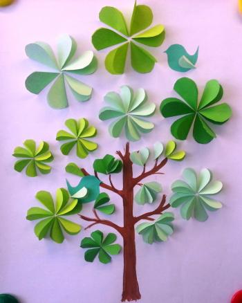 поделка дерево из цветной бумаги для детей 7