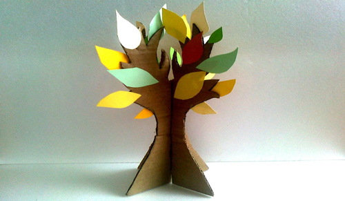 детская поделка дерево из цветной бумаги 6