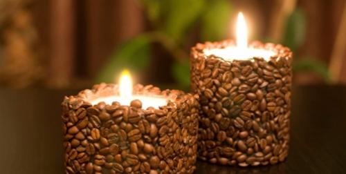 поделки из кофейных зерен: свеча