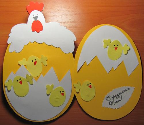 курочка с цыплятами - пасхальная поделка из бумаги для детей