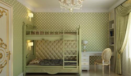 зеленый цвет в классической детской комнате