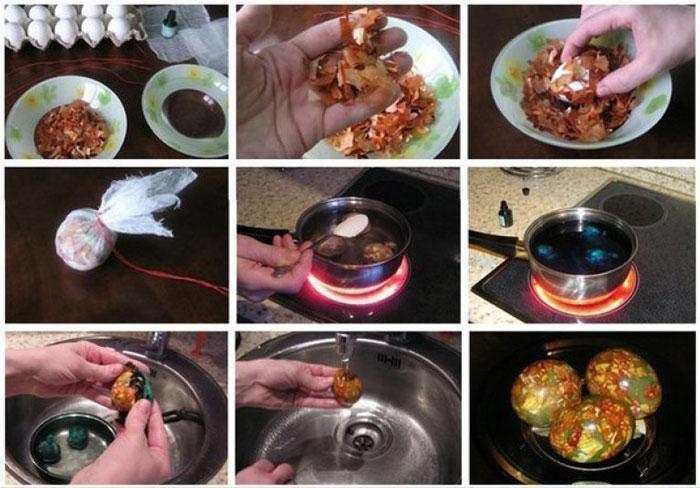 как красить яйца на Пасху луковой шелухой и зеленкой