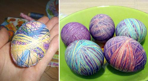 оригинальное окрашивание яиц на Пасху с помощью ниток