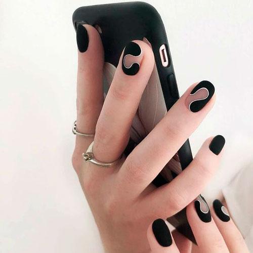 молодежный дизайн ногтей с матовым покрытием гель лаком 2