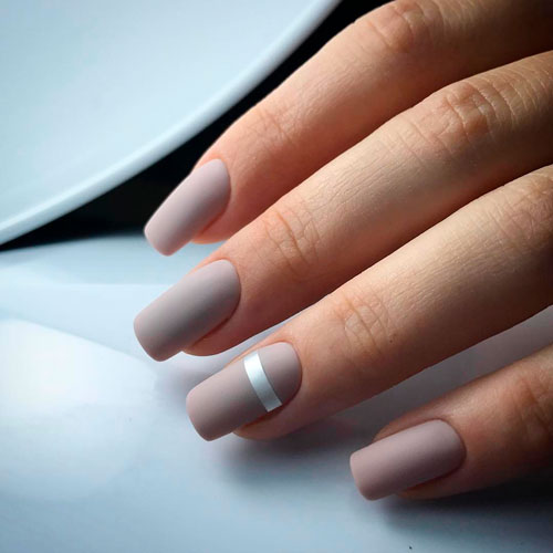 прямоугольные ногти с матовым дизайном