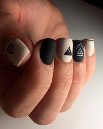 молодежный дизайн ногтей с матовым покрытием гель лаком