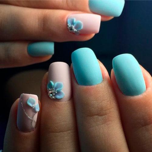 летний дизайн ногтей с матовым гель лаком