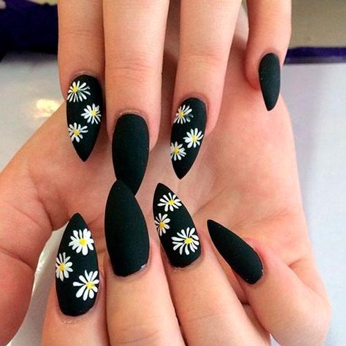 черные ногти с матовым покрытием