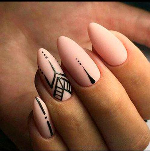 геометрический рисунок на ногтях с матовым гель лаком 2