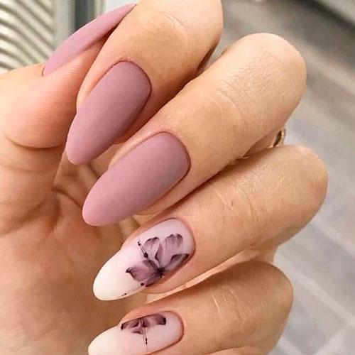 омбре на ногтях с матовым покрытием гель лаком