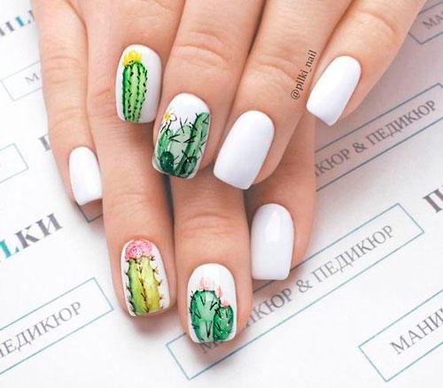 летний дизайн ногтей с матовым гель лаком с рисунком