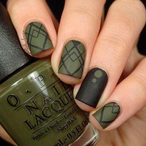 геометрический рисунок на ногтях с матовым гель лаком