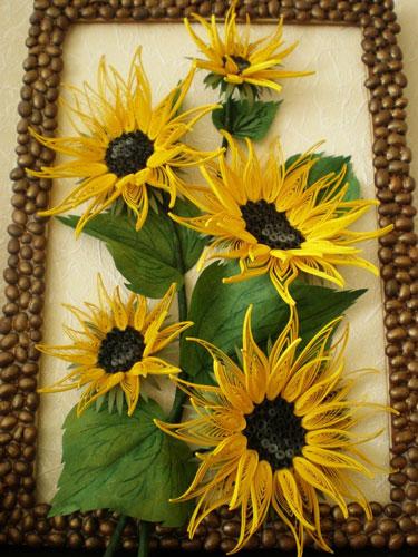 рамка для фото из семечек подсолнуха