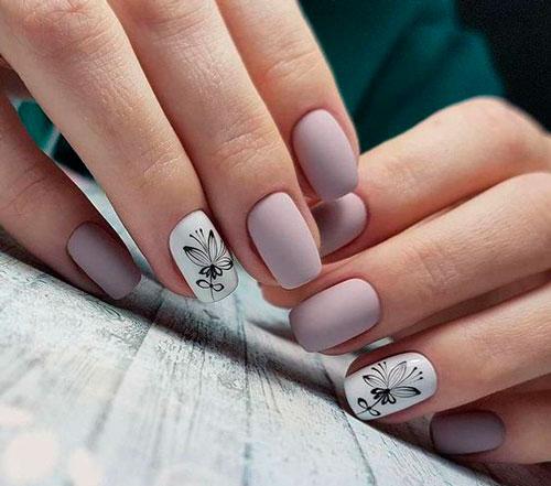 нежный дизайн ногтей с покрытием матовым гель лаком 2