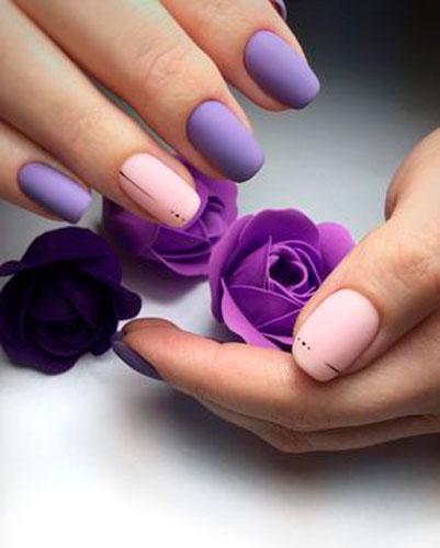 нежный дизайн ногтей с покрытием матовым гель лаком
