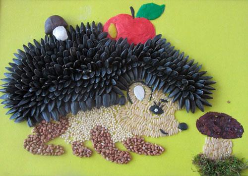 поделка ежик из семечек подсолнуха в детский сад